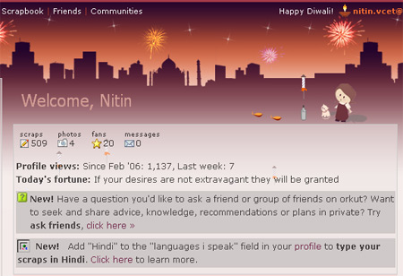"To load the new theme, login to Orkut and click the ""Happy Diwali"" message"